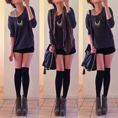 casual look - loose grey tank under a darker grey sweater with a brown vest over top paired with black shorts, knee high socks and grey ankle boots
