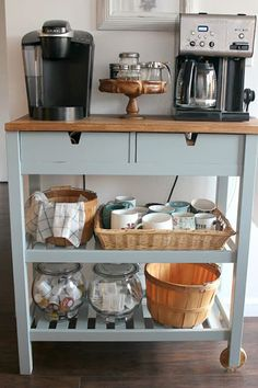 DIY Coffee Bar Cart perfect for a small space and for guests to self serve coffee! An easy coffee lover IKEA hack makeover! DIY Coffee Bar Cart perfect for a small space and for guests to self serve coffee! An easy coffee lover IKEA hack makeover! Coffee Bars In Kitchen, Coffee Bar Home, Home Coffee Stations, Coffee Bar Design, Dyi Coffee Bar, Coffee Signs, Coffee Area, Coffee Nook, Coffee Corner