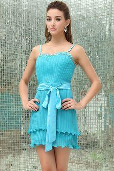 Sheath Square Neck Spaghetti Strap Mini Length Chiffon With Sash Blue Dresses