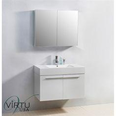 "Virtu USA 36"" Midori Single Sink Bathroom Vanity with Polymarble Countertop - Gloss White"