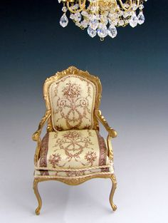 1:12th Scale ~ Dolls House ~ Beautiful French Fauteuil Chair with Silk Upholstery (jt-from Carol Clarke on Etsy)