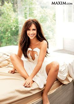 Jennifer Love Hewitt in the March issue of Maxim Magazine wearing an ivory Lloyd Klein Couture silk jersey micro pleated goddess gown. #lloyd_klein