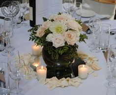Donald Vase with votives, petals and mirror. Pastel rose posey in fishbowl vase. From www.lovelybridalblooms.com.au