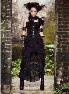 24acc14c80c3a Top vente Steampunk retour femme Vintage jupe noire dos nu dentelle