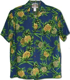 6bb12d017d7a8 Fresh Pineapples Men s Kalaheo Label tropical print Shirt created in Navy  Blue and Ivory. MauiShirts