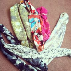 "some more ""o-ring""/""infinity"" scarves i made with new patterns! #scarves #diy #fashion #women'sfashion #fabric"