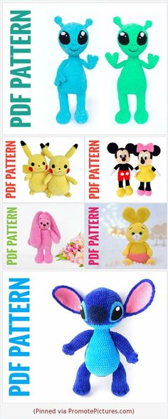 Amigurumi patterns/ Crochet aliens, Detective Pikachu, Minnie and Mickey Mouse, Bunny, Stitch and other animal. Crochet Stitches Patterns, Crochet Patterns For Beginners, Crochet Patterns Amigurumi, Crochet Disney, Pin Pin, Crochet Gifts, Crochet Animals, Vintage Crochet, Stuffed Toys Patterns