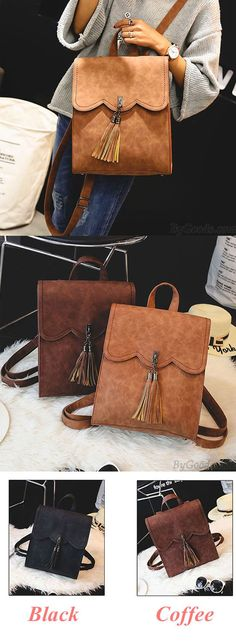 Retro Simple PU Tassels Women College Backpack for big sale! #tassel #women #retro #college #backpack #Bag #college #student #school #rucksack #travel #cute