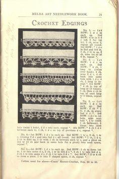 Crochet edging patterns -  Melba Art Needlework Book - 6th ed (c1940-1950)
