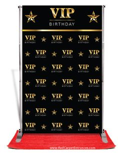 VIP Birthday Backdrop - Black — Red Carpet Runner & Red Carpet Backdrop Event Shop <br> Birthday Backdrop Backdrop for birthday party entrance or photo booth. Banner stand and red carpet sold separately. Hollywood Party, Hollywood Birthday Parties, Hollywood Red Carpet, 18th Birthday Party, Birthday Party Themes, Happy Birthday, Deco Cinema, Diy Fotokabine, All Black Party