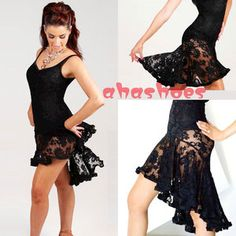 Womens HOT Black Sexy Lace Latin salsa tango Ballroom Dance Dress Skirt One Size | eBay