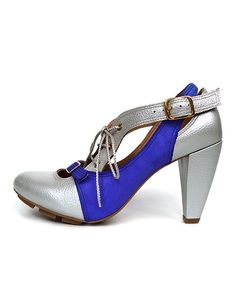 Take a look at this Shine Blue Strata Leather Pump on zulily today!