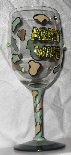 Army Wife Handpainted and Embellished Wine Glass by GlassWurx, $23.00