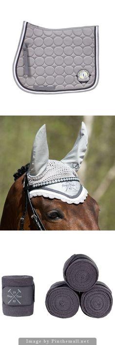 Horze Ash Grey CRES Set - Horze CRES Allround Saddle Pad - Horze CRES Riding Hood - Horze Crescendo Bandages