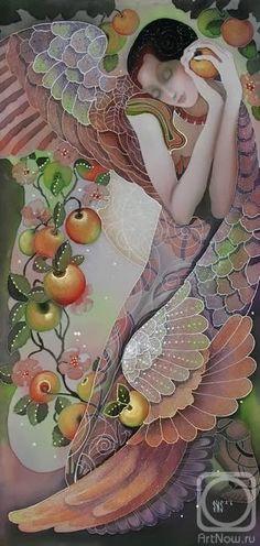 Title unknown [angel with fruit] --  by Nadezhda Illarionova Sokolova