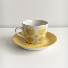 "Highly collectible vintage Arabia Finland  coffee cup and saucer named ""Tulppaani"" by Göran Bäck / Kaj Franck , 1960s - Made in Finland by FinnishVintageOasis on Etsy"
