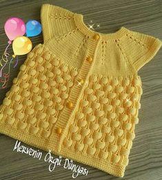 "diy_crafts- HUZUR SOKAĞI (Yaşamaya Değer Hobiler) For Girls, Tissues ""This post was discovered by Zeh"", ""Discover thousands of im Baby Knitting, Crochet Baby, Knit Crochet, Baby Fur Vest, Diy Braids, Vest Pattern, Boys Sweaters, Baby Girl Dresses, Mellow Yellow"