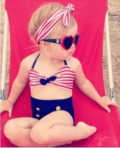 Costume bikini con fascia capelli da mare bagno piscina bambina estate 2015