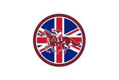 British Jockey Horse Racing Union Ja by patrimonio on @creativemarket Icon retro style illustration of a British jockey or equestrian horse racing viewed from side with United Kingdom UK, Great Britain Union Jack flag set inside circle on isolated background. #illustration #BritishJockey #HorseRacing #UnionJackflAG #icon #patrimonio