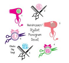 Hairdresser/Stylist Monogram Vinyl Decal - Choose your size! by ChicksDigVinyl on Etsy https://www.etsy.com/listing/200640200/hairdresserstylist-monogram-vinyl-decal