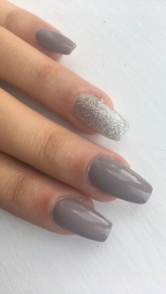 Grey and silver autumn nails #coffin#grey#sparkle#silver#acrylics