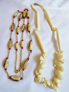 Lot of 2 Shell neckalces white Mother of Pearl red spacers link chain Fashion | eBay