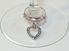 Rhinestone Heart Wine Charms Swarovski Crystal by DesignsByJen1,