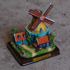 Collectible Miniature House: Netherlands. Holland. Red Mill