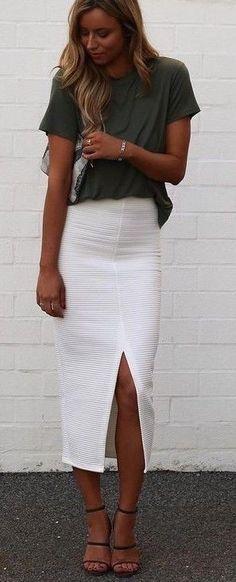 #summer #cool #outfits | Khaki Shirt + White Midi Skirt