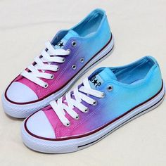 You can use tie dying dye to easily upgrade any old, stained canvas shoes...