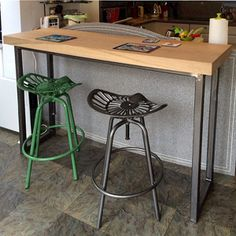 Reclaimed Solid Oak Topped Breakfast Bar/Console Table