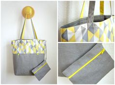 Reversible bag with inside pocket. The pocket could have a zipper on one side and a pouch on the other, and the shopping bag could be folded up into the pouch Bag Patterns To Sew, Sewing Patterns, Diy Bags Purses, Linen Bag, Fabric Bags, Shopper Bag, Baby Sewing, Bag Making, Creations