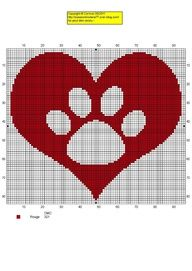 Cross stitch dog paw heart. I need to make this for Renee