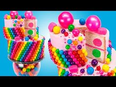 Wacky Rainbow Bubble Gum Cake (Bubblegum Cake) from Cookies Cupcakes and Cardio - YouTube