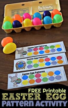FREE Easter Egg Pattern Activity - this super cute hands on math activity for preschoolers and kindergarten age students is a fun way to practice visual discrimination with an easy Easter theme Easter activities Easter Activities For Kids, Spring Activities, Holiday Activities, Crafts For Kids, Easter Crafts For Preschoolers, Preschool Easter Crafts, Preschool Eggs, April Preschool, Preschool Activities