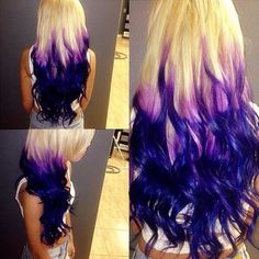 613a white blonde extensions to DIY into blonde purple ombre wavy styles