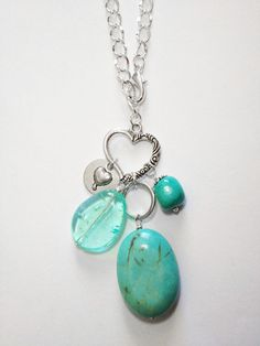 Turquoise Stone Pendant Bauble Heart Necklace