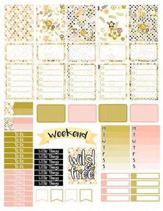 Printable Planner Stickers Gold Bird Floral Erin by LaceAndLogos: