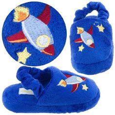Royal Blue Rocket Toddler Slippers for Boys S 4-5 Capelli New York. $10.99