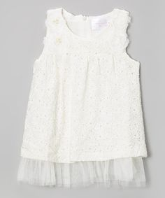 Another great find on #zulily! White Pearl Shift Dress - Toddler & Girls by Blossom Couture #zulilyfinds