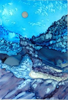 Alcohol ink painting. Peaceful.  Abstract by KCsCornerGallery, $45.00