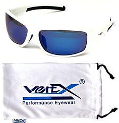 e932be804e47 VertX Mens Polarized Sunglasses Sport Cycling Outdoor w free Microfiber  Pouch White Black Frame Blue Lens