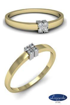 Złoty pierścionek z czterema brylantami || Gold ring with diamonds ##goldjewellery #biżuteria