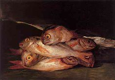 "Goya. Still life with golden bream.  There's always a certain ""ghost"" in Goya's paintings."