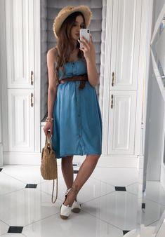 Sukienka Karu Denim Jasny – Elenstore Denim Skirt, Summer Dresses, Skirts, Model, Fashion, Moda, Summer Sundresses, Skirt