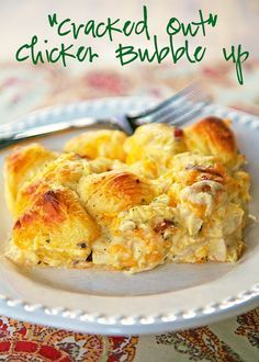 """""""Cracked Out"""" Chicken Bubble Up Recipe - chicken, cheddar bacon, ranch, chicken soup, sour cream and biscuits baked casserole."""
