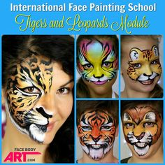 """Who doesn't love felines? I adore them! And they are always a hit at any party. I carefully selected these five types of felines designs for the """"Tigers and Leopards"""" Module at the International Face Painting School, that will help you nail all essential techniques - from linework and building a flawless mask, to neat blending and realistic fur texture. Register for the FREE TRIAL on www.facebodyart.com and learn more about the ultimate face painting guide!"""
