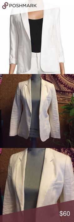 Joie Mehira White Porcelain Linen Blazer Great condition, no wear. Worn maybe 1-2 times. 100% linen and very breathable. Beautiful white color will match with anything. True to size and very comfortable. Joie Jackets & Coats Blazers