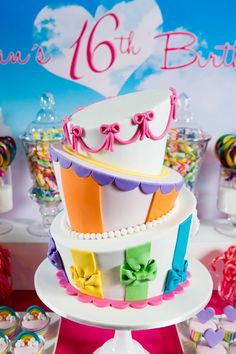 Ideas party themes teenagers sweet 16 teenage dream for 2019 Colorful Birthday Cake, Sweet 16 Birthday Cake, Birthday Cakes, Birthday Ideas, Teen Birthday, 16th Birthday, Birthday Bash, Sweet 16 Cakes, Cute Cakes