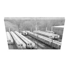 """Septa Transit M-3 Market Frankford Line Cars wide view Stretched Canvas Prints -$156.95 -24""""X18"""" -by zazzle.com #stanrail -Zazzle's gloss canvas is made from an additive-free cotton-poly blend and features a special ink-receptive coating that protects the printed surface from cracking when stretched. Made with a tight weave ideal for any photography , instant-dry gloss canvas produces prints that are fade-resistant for 75 years or more. #Vintage   #Septa  #SubwayCars  #Canvas…"""